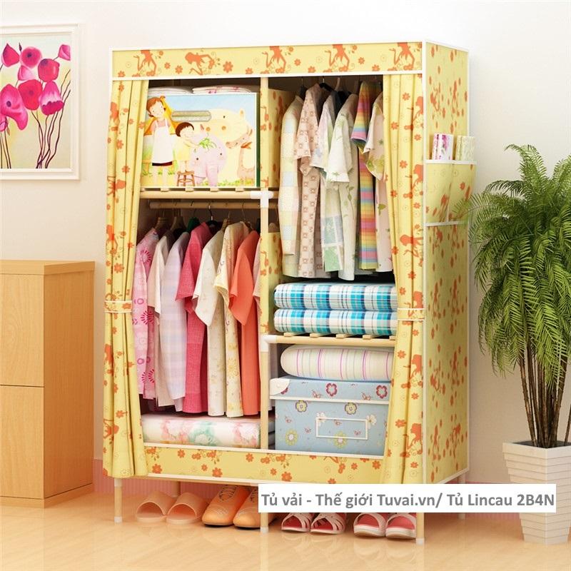 Tủ khung gỗ Lincau màu vàng kem