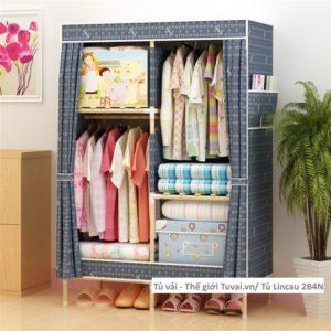 Tủ khung gỗ Lincau màu xanh họa tiết chữ G