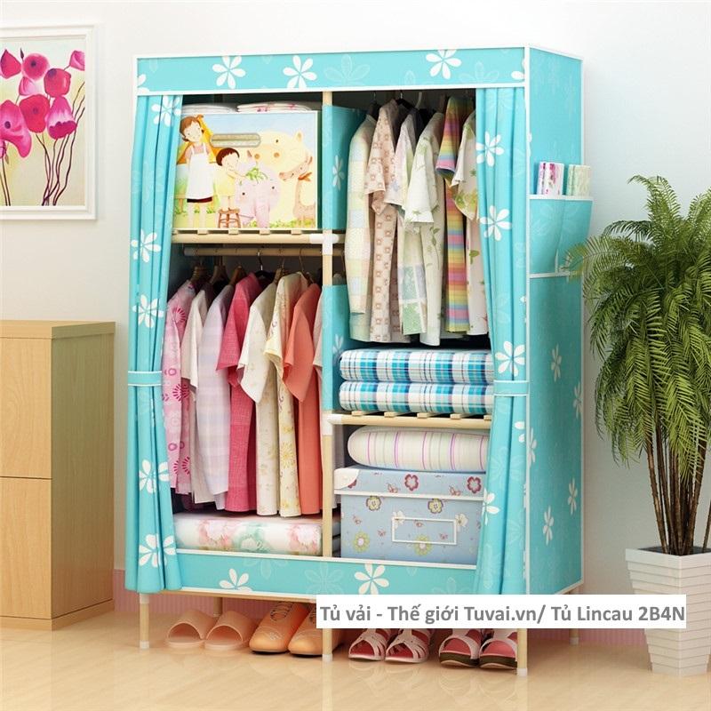 Tủ khung gỗ Lincau màu xanh hoa
