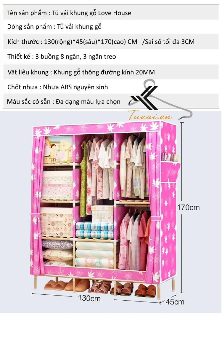 Thông tin về sản phẩm tủ vải khung gỗ Love House với 3 ngăn treo