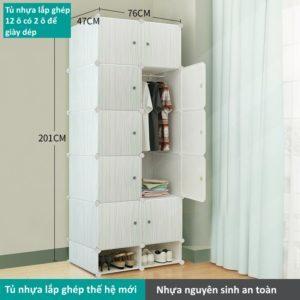 Tủ nhựa lắp ghép 12 ô màu trắng sọc xanh với 2 ô đựng giày dép