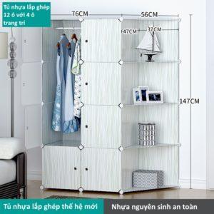 Tủ nhựa lắp ghép 12 ô màu trắng với 4 ô trang trí