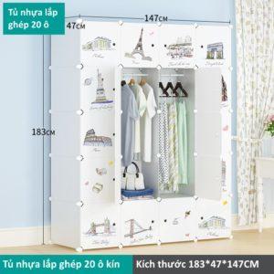 Tủ lắp ghép bằng nhựa 20 ô màu trắng
