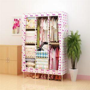 Tủ vải khung gỗ Love House màu họa tiết trái tim
