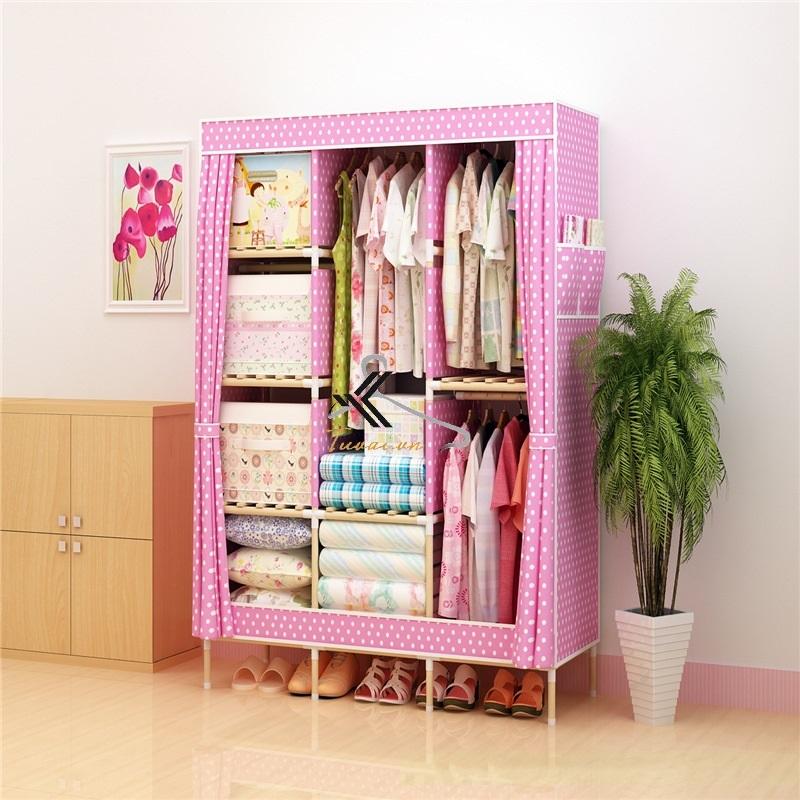Tủ vải khung gỗ Love House màu hồng chấm bi