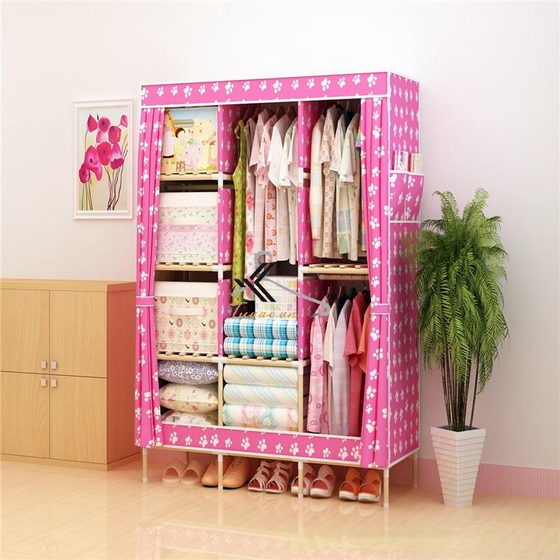 Tủ vải khung gỗ Love House màu hồng chân gấu