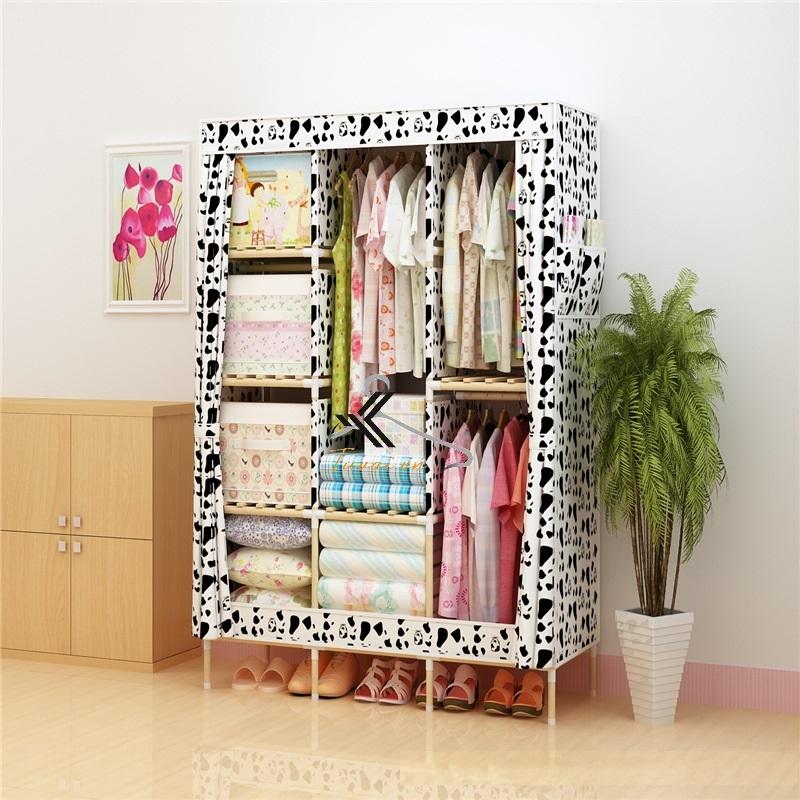 Tủ vải khung gỗ Love House màu trắng đen bò sữa