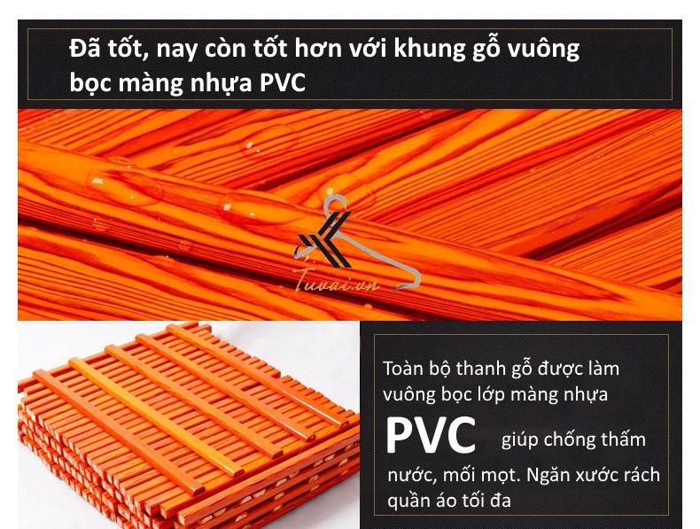 Khung gỗ vuông được bọc nhựa PVC hoàn toàn