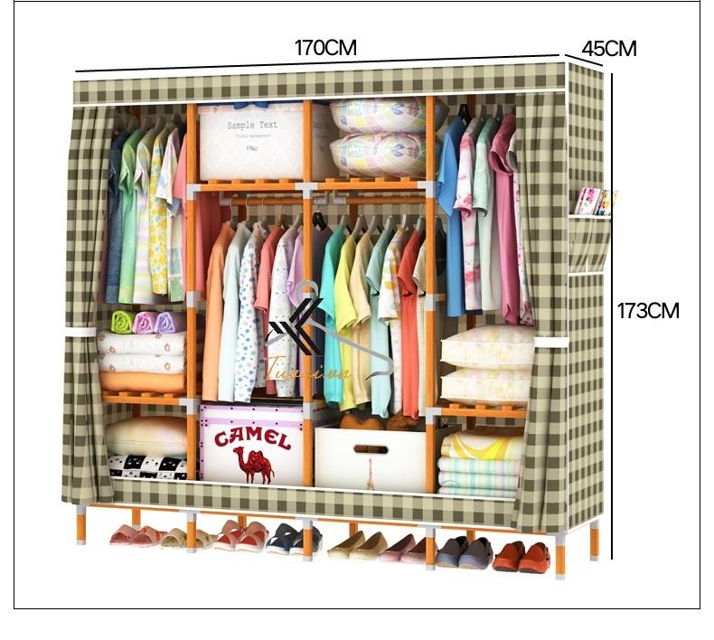 Kích thước tủ vải khung gỗ vuông bọc nhựa Camel 4 buồng 8 ngăn