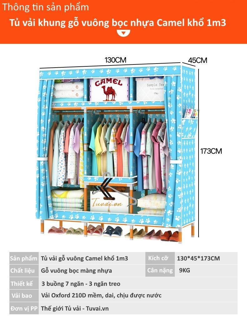 Thông tin chi tiết tủ vải khung gỗ vuông bọc nhựa PVC Camel khổ 1m3