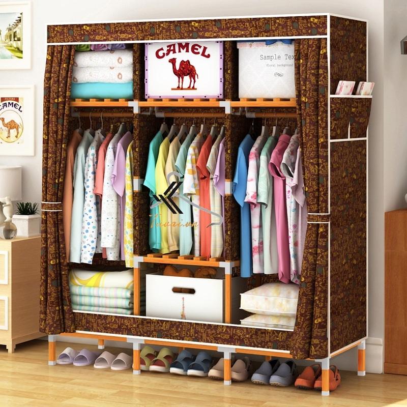 Tủ vải khung gỗ vuông khổ 1m3 màu cafe