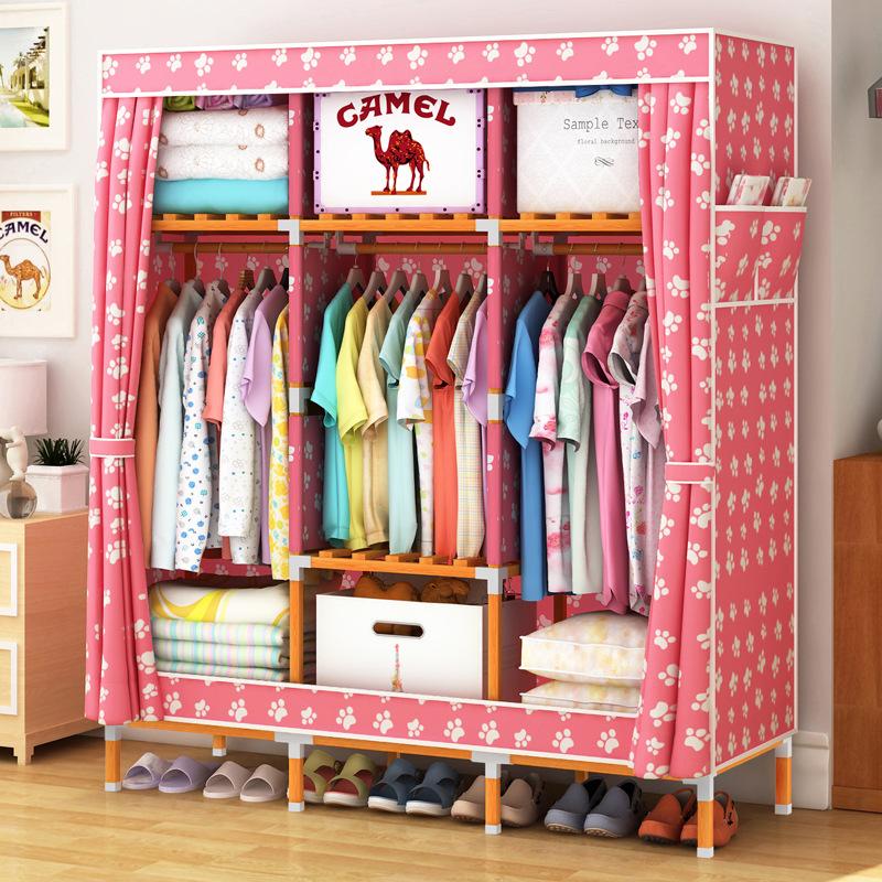 Tủ vải khung gỗ vuông khổ 1m3 màu hồng chân gấu