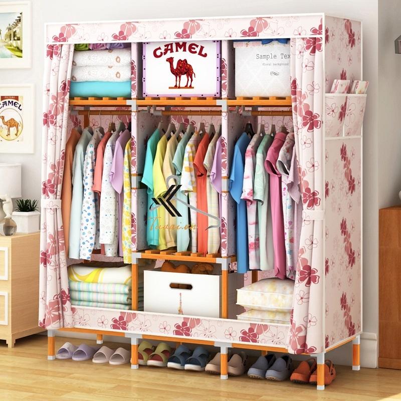 Tủ vải khung gỗ vuông khổ 1m3 màu trắng hoa đỏ