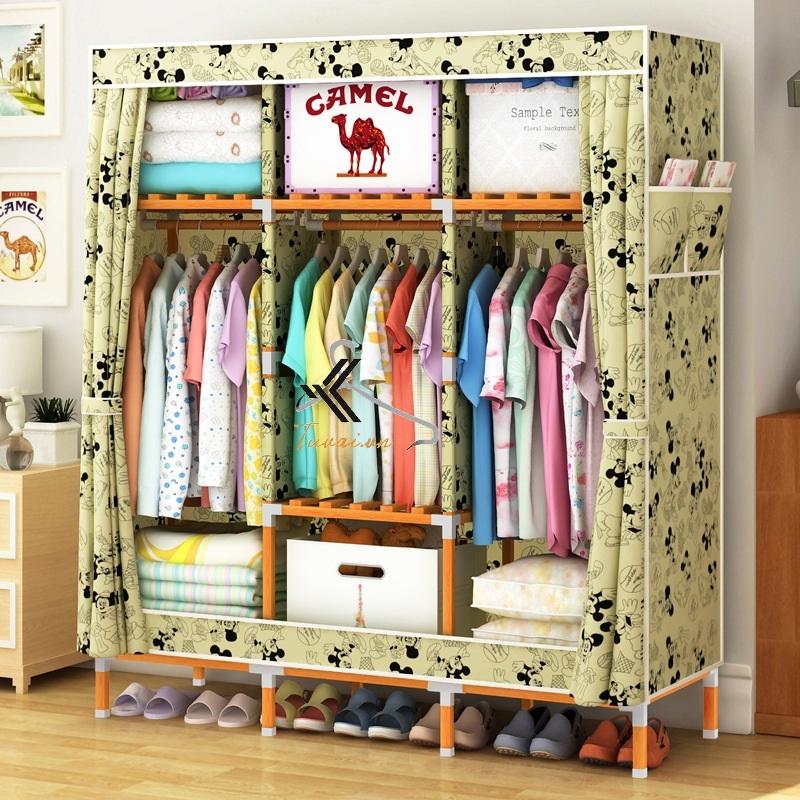 Tủ vải khung gỗ vuông khổ 1m3 màu vàng Mickey