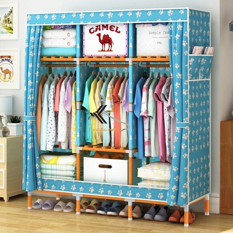Tủ vải khung gỗ vuông khổ 1m3 màu xanh chân gấu