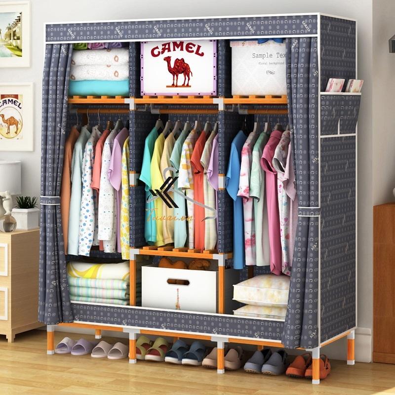 Tủ vải khung gỗ vuông khổ 1m3 màu xanh cửu long