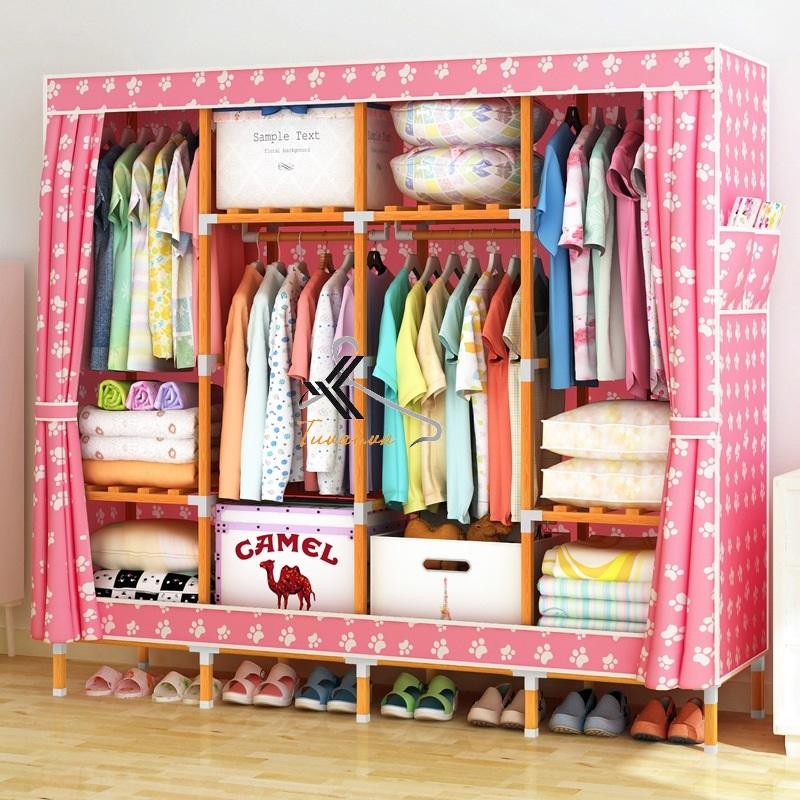 Tủ vải khung gỗ vuông bọc nhựa 4 buồng 8 ngăn màu hồng chân gấu
