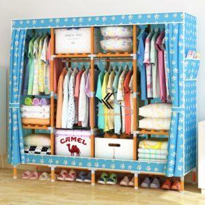 Tủ vải khung gỗ vuông bọc nhựa 4 buồng 8 ngăn màu xanh chân gấu