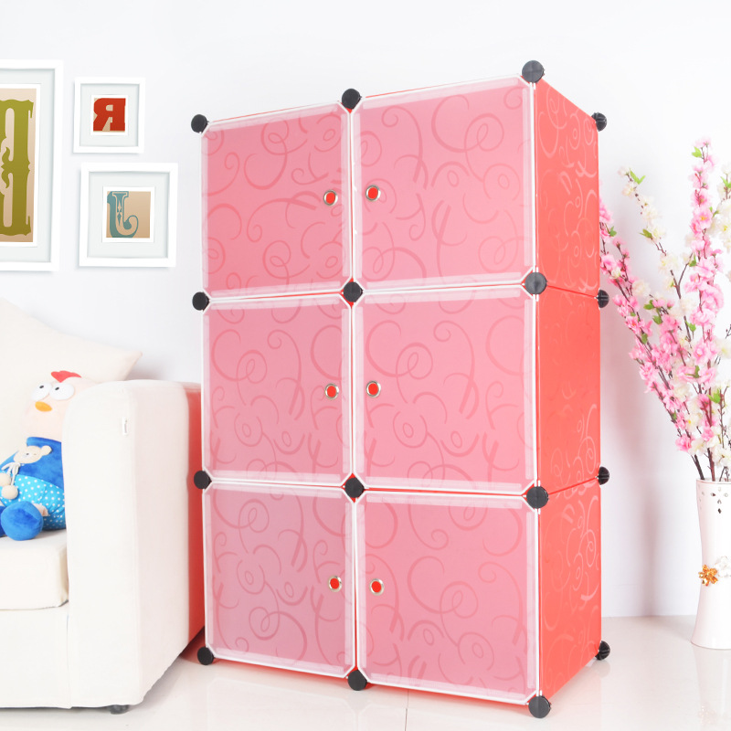 Tủ nhựa lắp ghép Quảng Đông 6 ô màu cam