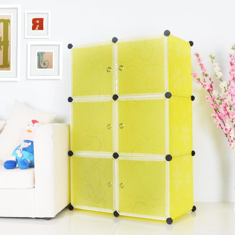 Tủ nhựa lắp ghép Quảng Đông 6 ô màu vàng