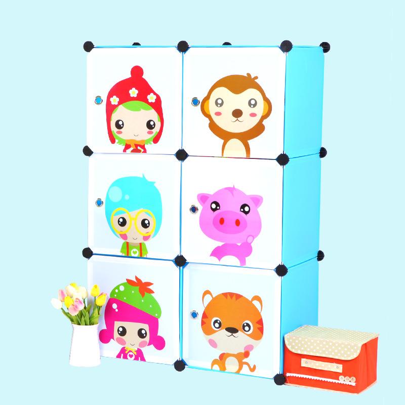 Tủ nhựa lắp ghép 6 ô họa tiết trẻ em