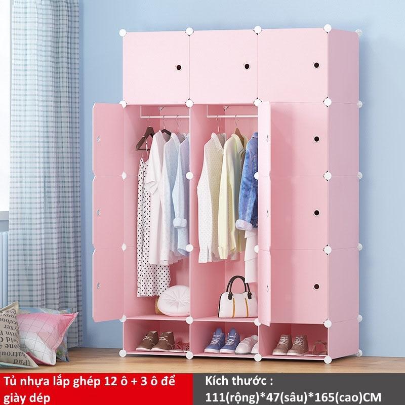 Tủ nhựa ghép 12 ô và 3 ô để giày màu hồng