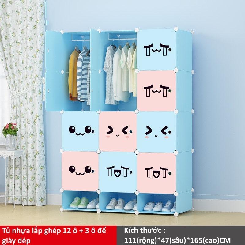 Tủ nhựa ghép 12 ô và 3 ô để giày màu xanh hồng