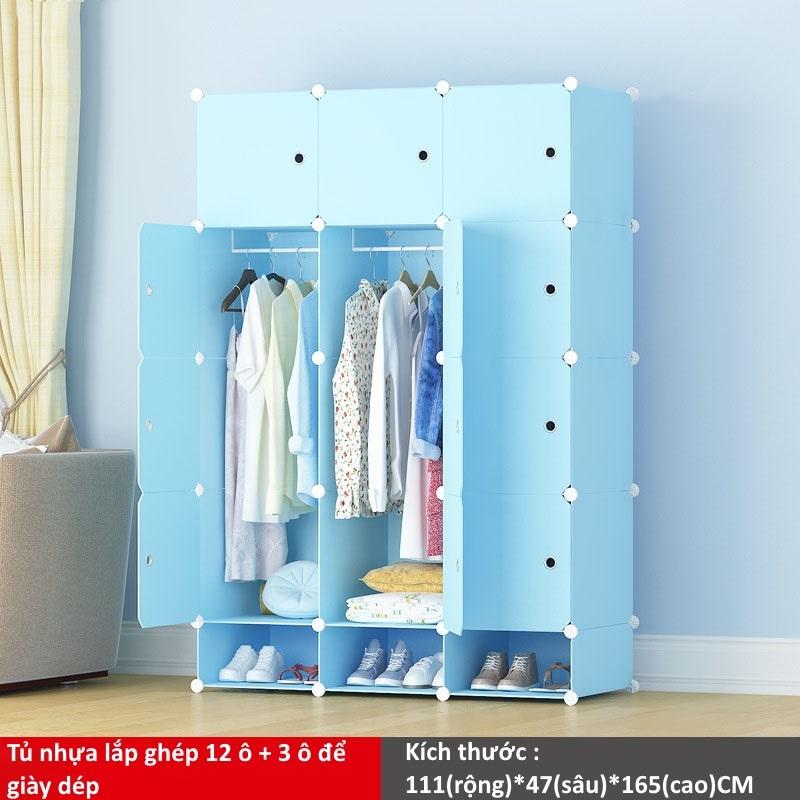Tủ nhựa ghép 12 ô và 3 ô để giày màu xanh