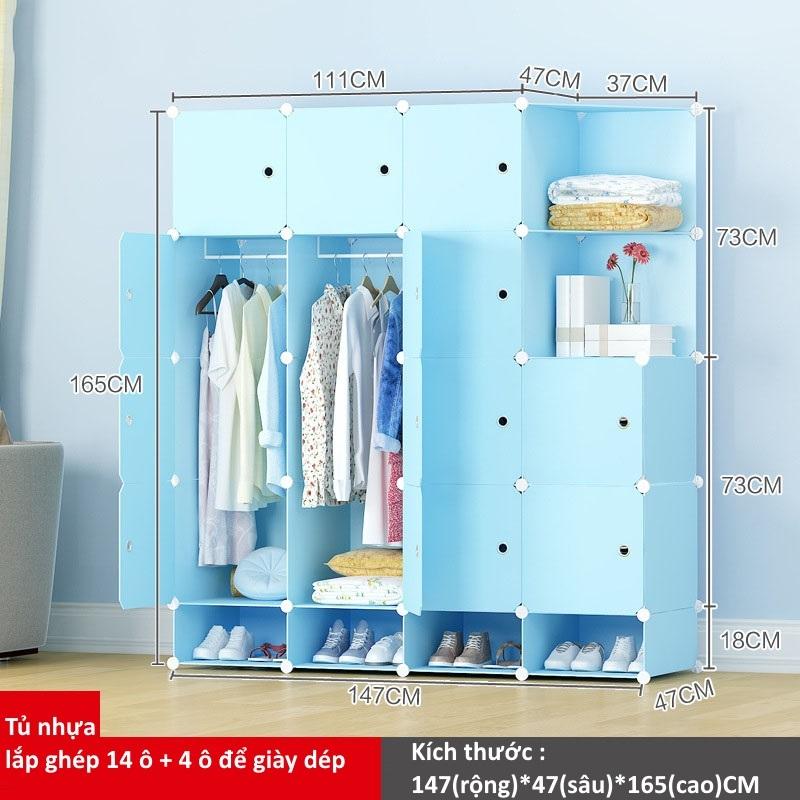 Tủ nhựa ghép 14 ô + 4 ô để giày màu xanh