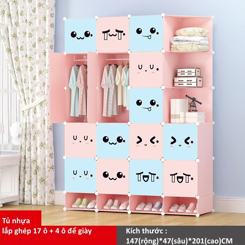 Tủ nhựa ghép 17 ô + 4 ô giày màu xanh hồng