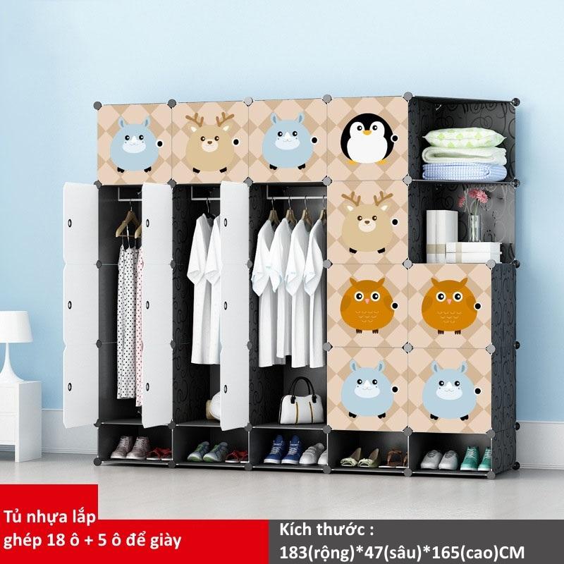Tủ nhựa ghép 18 ô + 5 ô giày họa tiết Anime