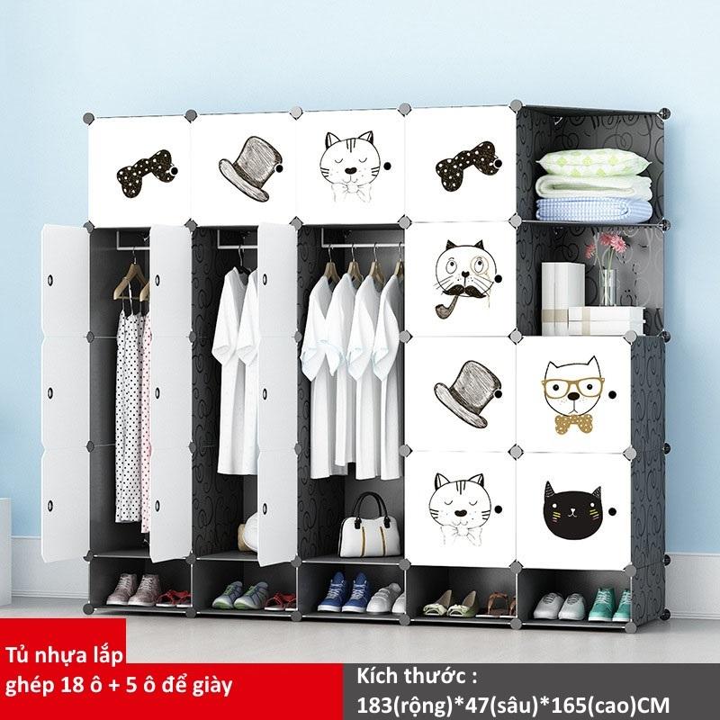 Tủ nhựa ghép 18 ô + 5 ô giày họa tiết mèo