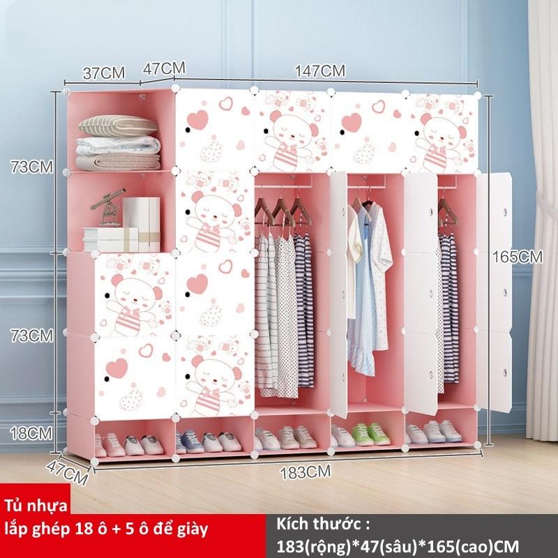 Tủ nhựa ghép 18 ô + 5 ô giày họa tiết gấu hồng