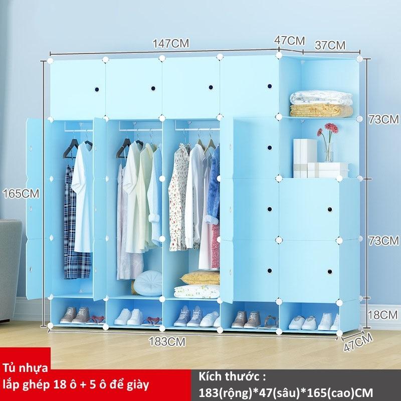 Tủ nhựa ghép 18 ô + 5 ô giày màu xanh