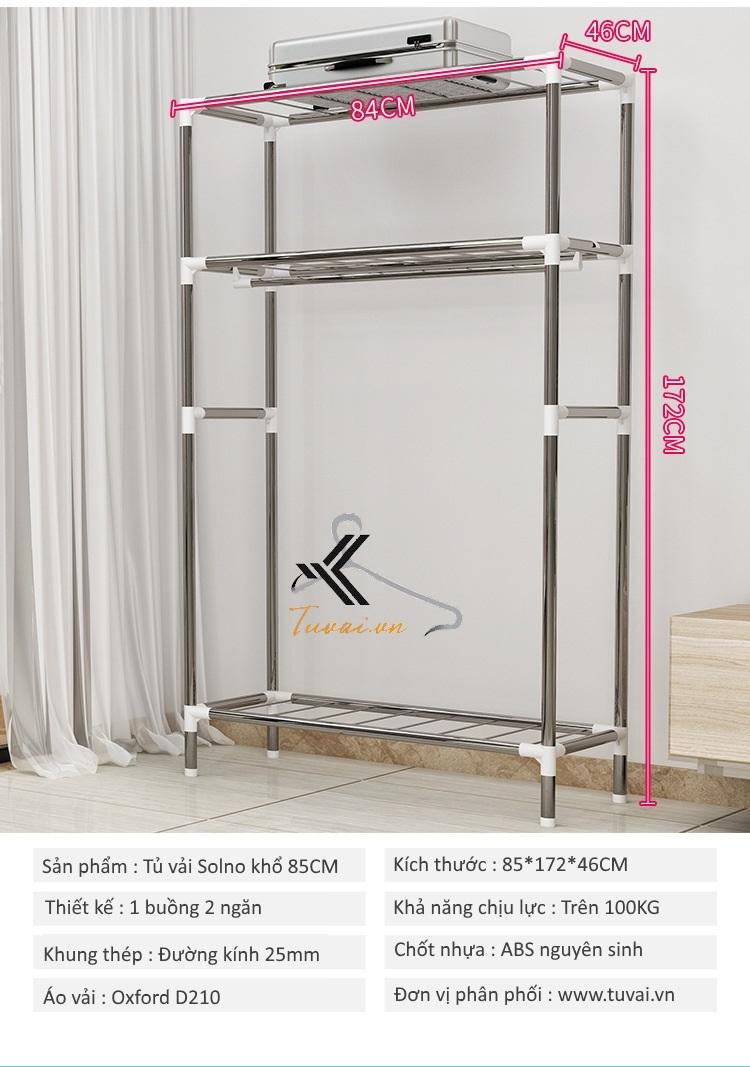Thông tin chi tiết tủ vải Solno khổ 85cm