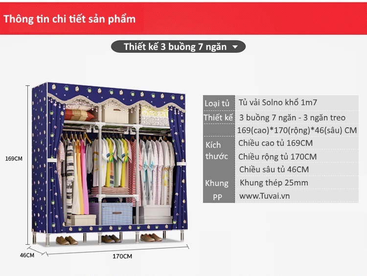 Thông tin tủ vải Solno khổ 1m7
